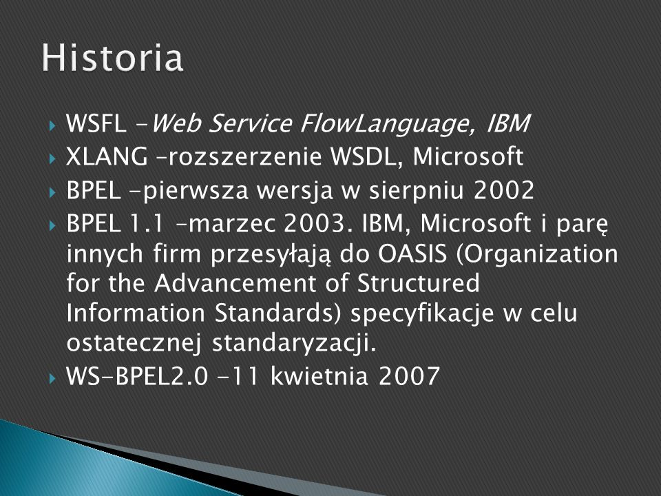 Historia WSFL -Web Service FlowLanguage, IBM