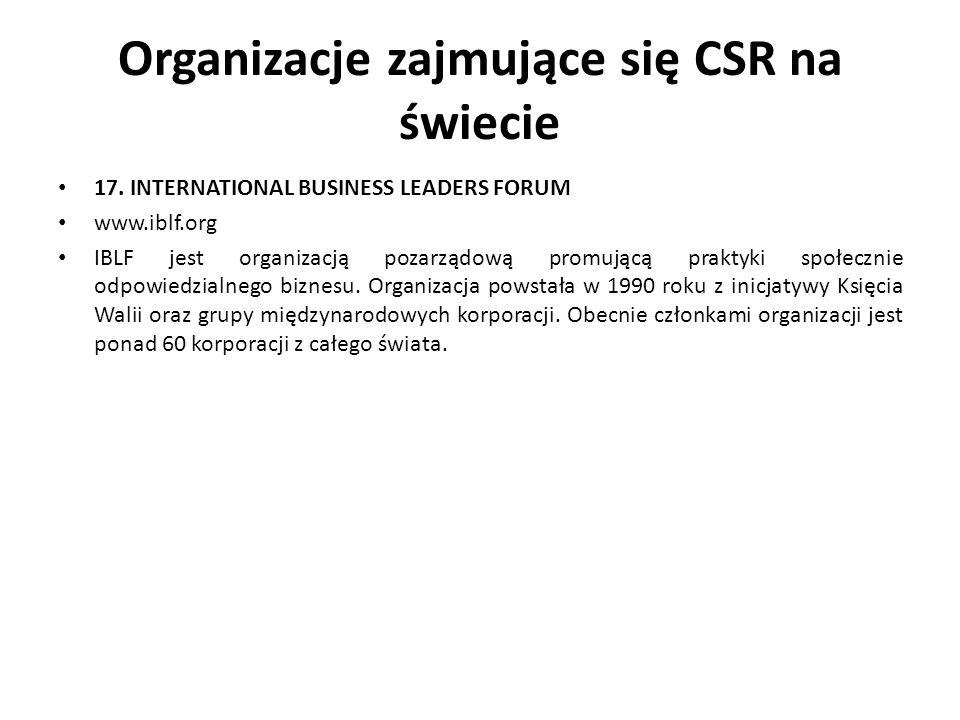 Organizacje zajmujące się CSR na świecie