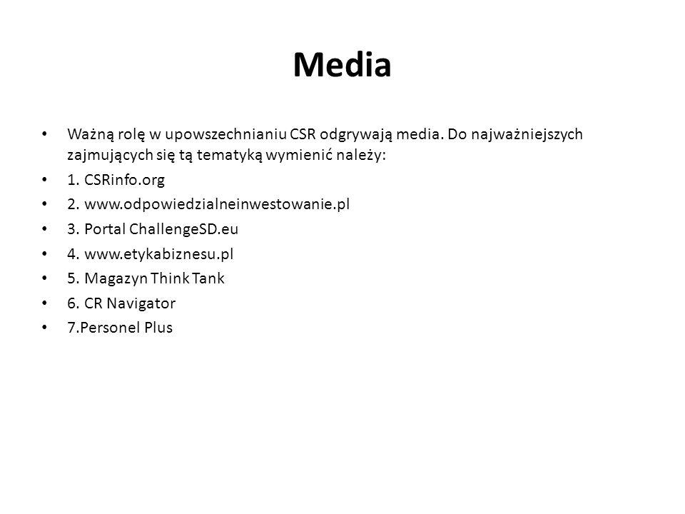 MediaWażną rolę w upowszechnianiu CSR odgrywają media. Do najważniejszych zajmujących się tą tematyką wymienić należy: