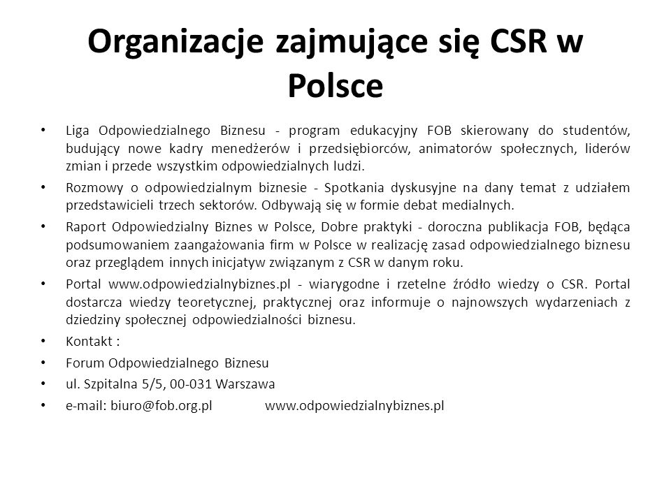 Organizacje zajmujące się CSR w Polsce