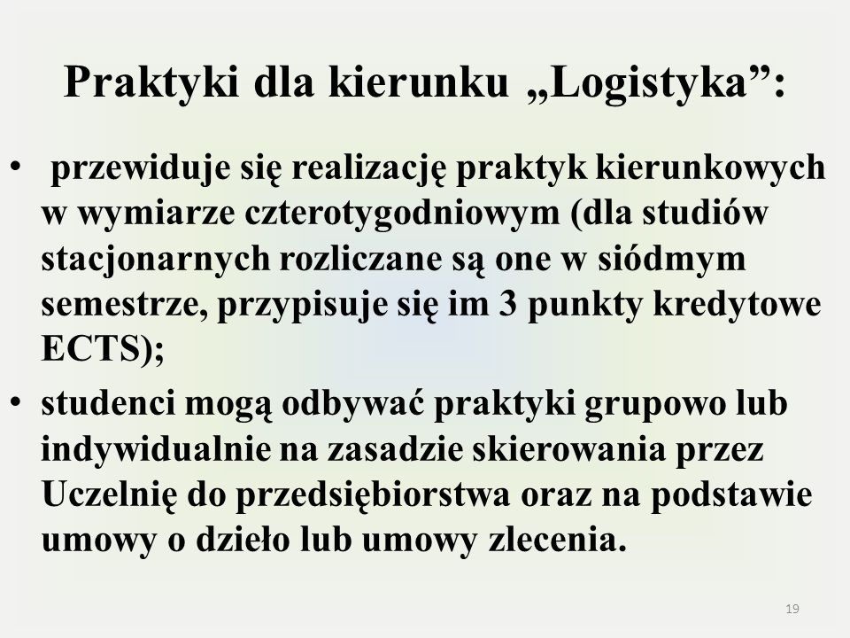 """Praktyki dla kierunku """"Logistyka :"""