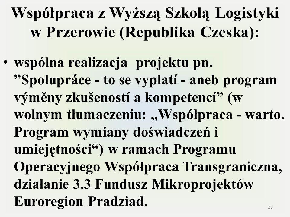 Współpraca z Wyższą Szkołą Logistyki w Przerowie (Republika Czeska):