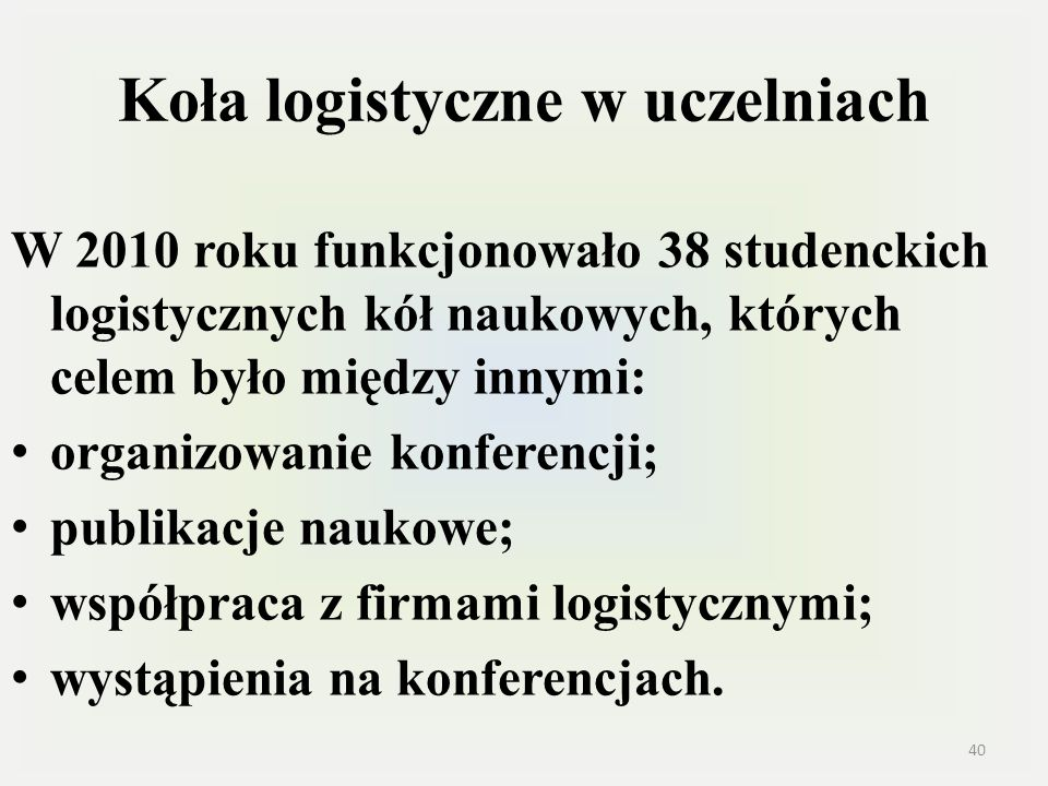 Koła logistyczne w uczelniach