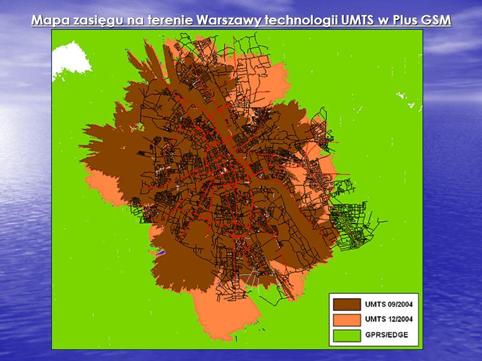 Mapa zasięgu na terenie Warszawy technologii UMTS w Plus GSM