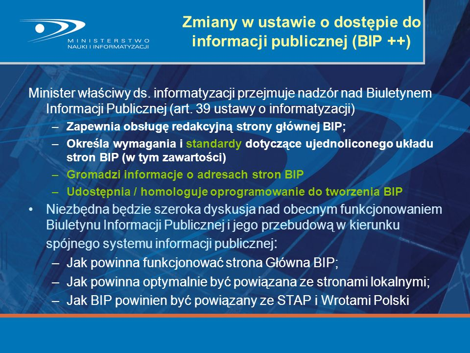 Zmiany w ustawie o dostępie do informacji publicznej (BIP ++)