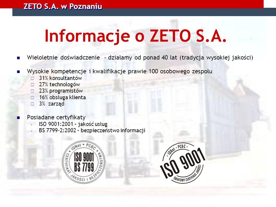 Informacje o ZETO S.A. Wieloletnie doświadczenie - działamy od ponad 40 lat (tradycja wysokiej jakości)