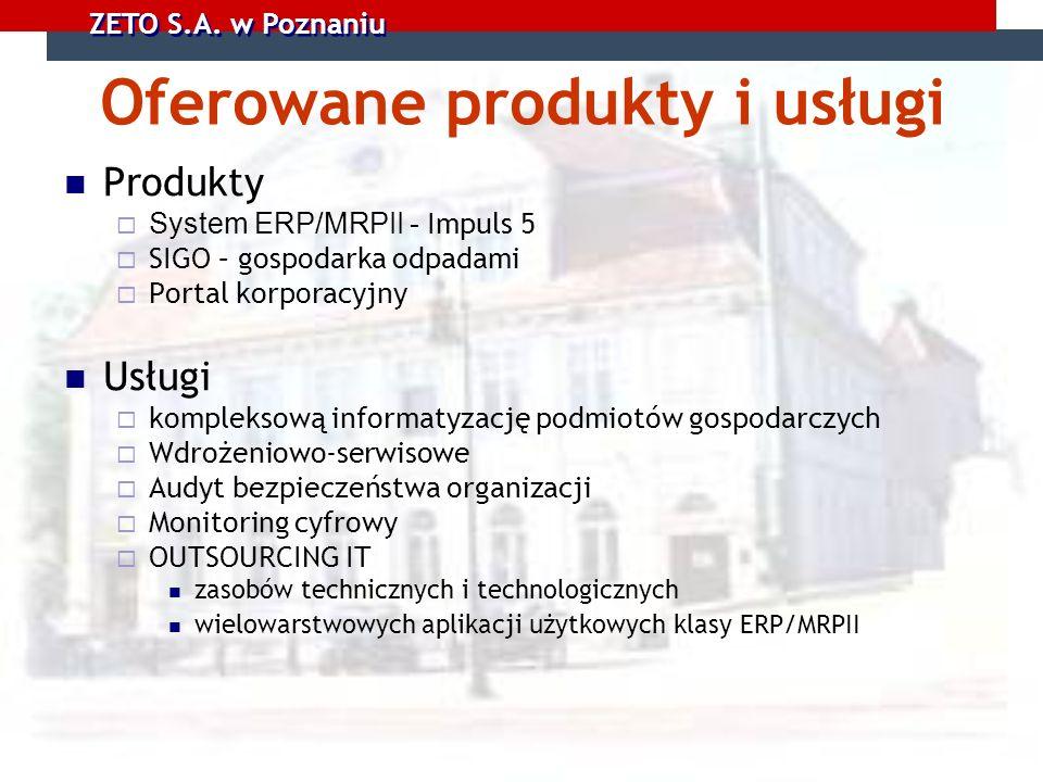 Oferowane produkty i usługi