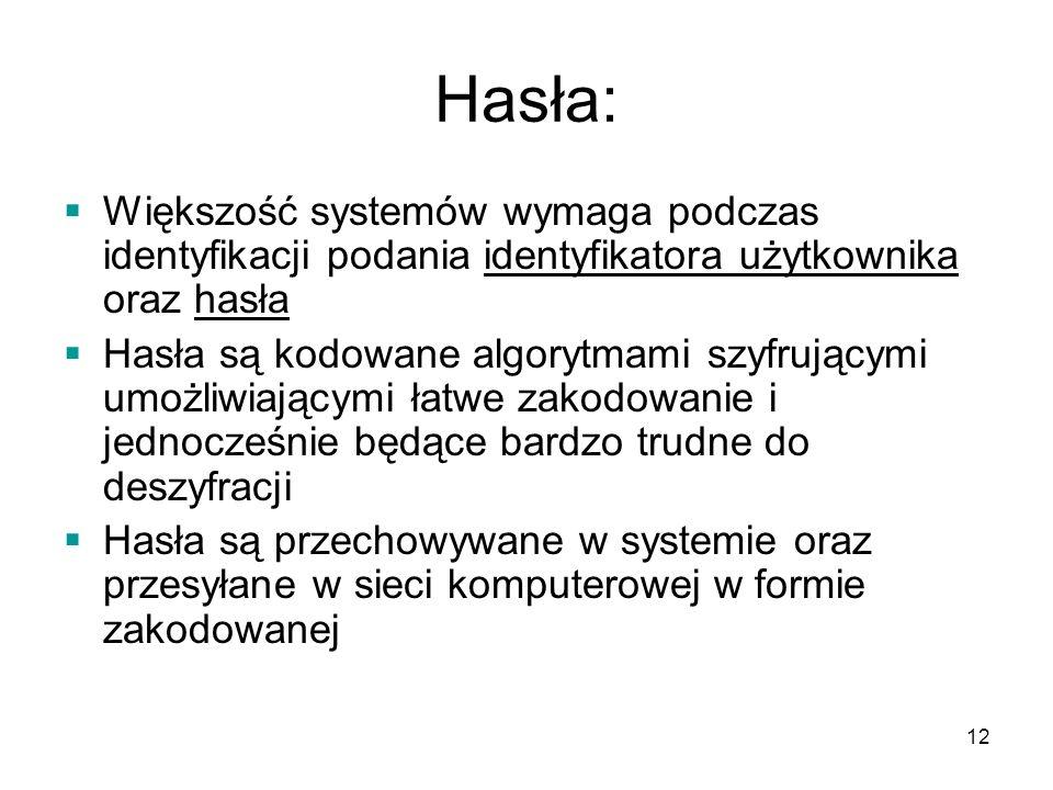 Hasła: Większość systemów wymaga podczas identyfikacji podania identyfikatora użytkownika oraz hasła.