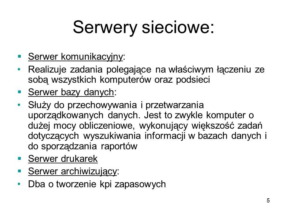 Serwery sieciowe: Serwer komunikacyjny:
