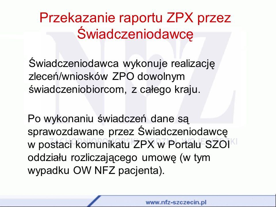 Przekazanie raportu ZPX przez Świadczeniodawcę
