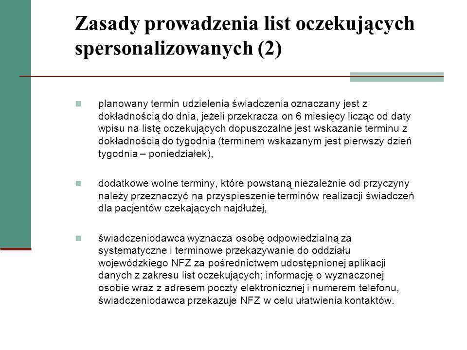 Zasady prowadzenia list oczekujących spersonalizowanych (2)