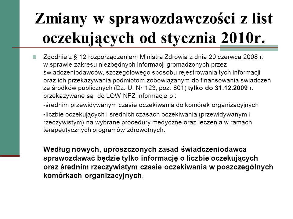 Zmiany w sprawozdawczości z list oczekujących od stycznia 2010r.