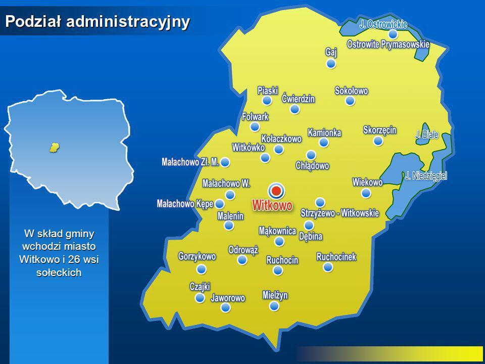 W skład gminy wchodzi miasto Witkowo i 26 wsi sołeckich