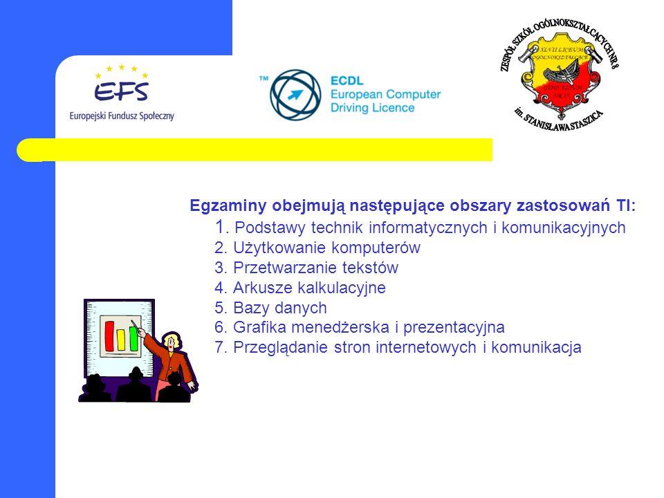 Egzaminy obejmują następujące obszary zastosowań TI: 1