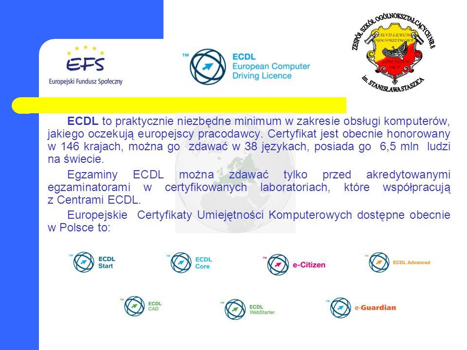 ECDL to praktycznie niezbędne minimum w zakresie obsługi komputerów, jakiego oczekują europejscy pracodawcy. Certyfikat jest obecnie honorowany w 146 krajach, można go zdawać w 38 językach, posiada go 6,5 mln ludzi na świecie.