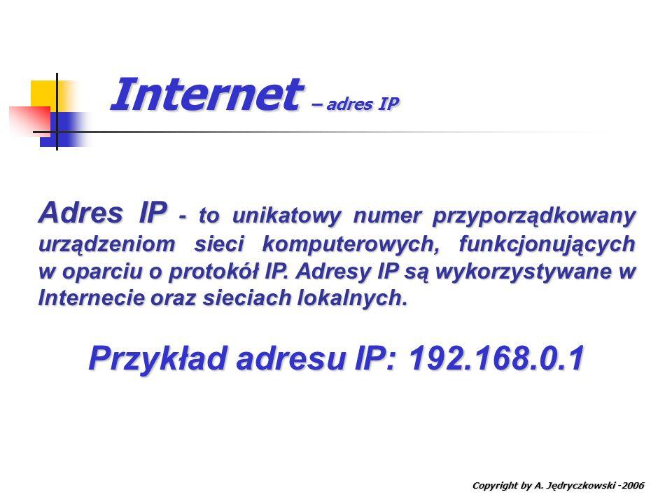 Internet – adres IP Przykład adresu IP: 192.168.0.1