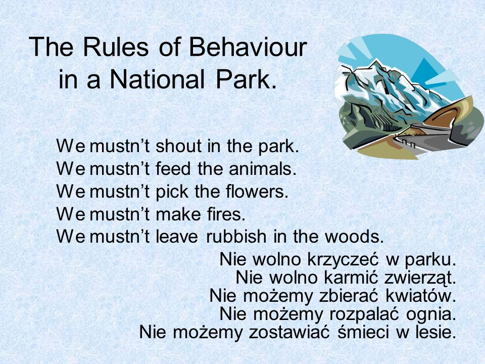 The Rules of Behaviour in a National Park.