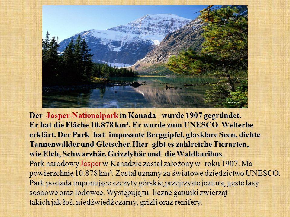 Der Jasper-Nationalpark in Kanada wurde 1907 gegründet