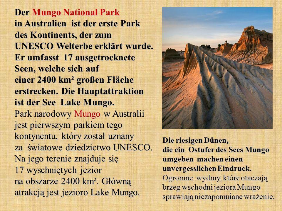 Der Mungo National Park in Australien ist der erste Park des Kontinents, der zum UNESCO Welterbe erklärt wurde. Er umfasst 17 ausgetrocknete Seen, welche sich auf einer 2400 km² großen Fläche erstrecken. Die Hauptattraktion ist der See Lake Mungo. Park narodowy Mungo w Australii jest pierwszym parkiem tego kontynentu, który został uznany za światowe dziedzictwo UNESCO. Na jego terenie znajduje się 17 wyschniętych jezior na obszarze 2400 km². Główną atrakcją jest jezioro Lake Mungo.