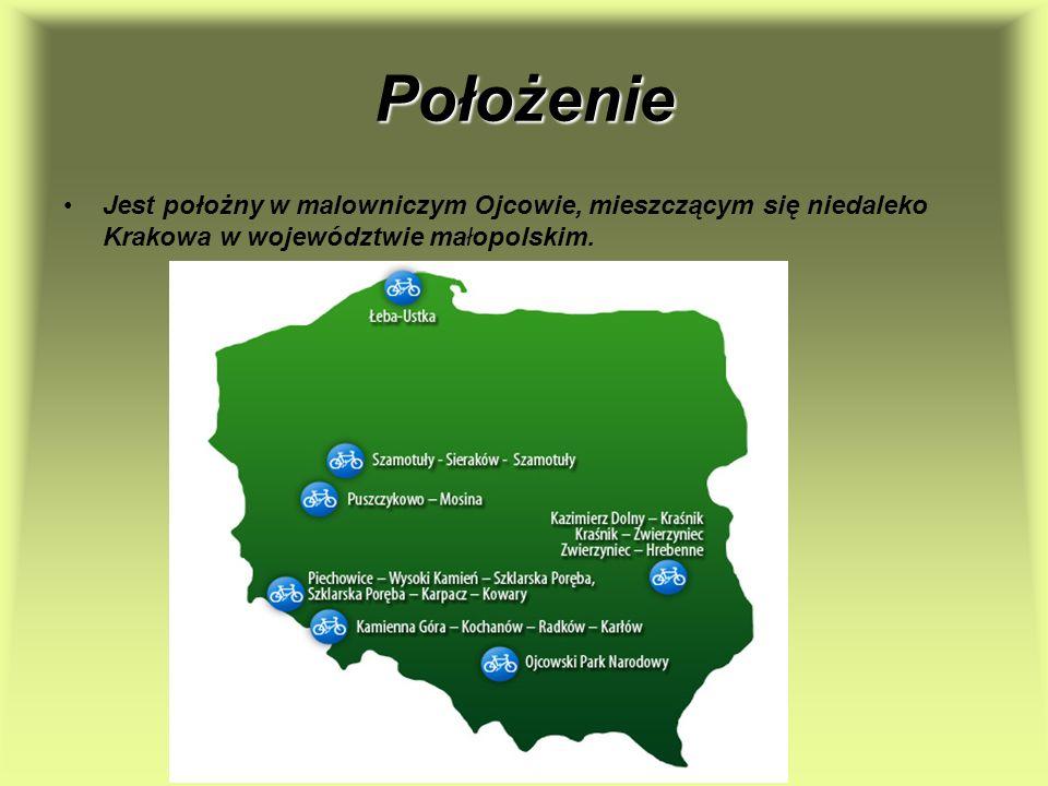 Położenie Jest położny w malowniczym Ojcowie, mieszczącym się niedaleko Krakowa w województwie małopolskim.
