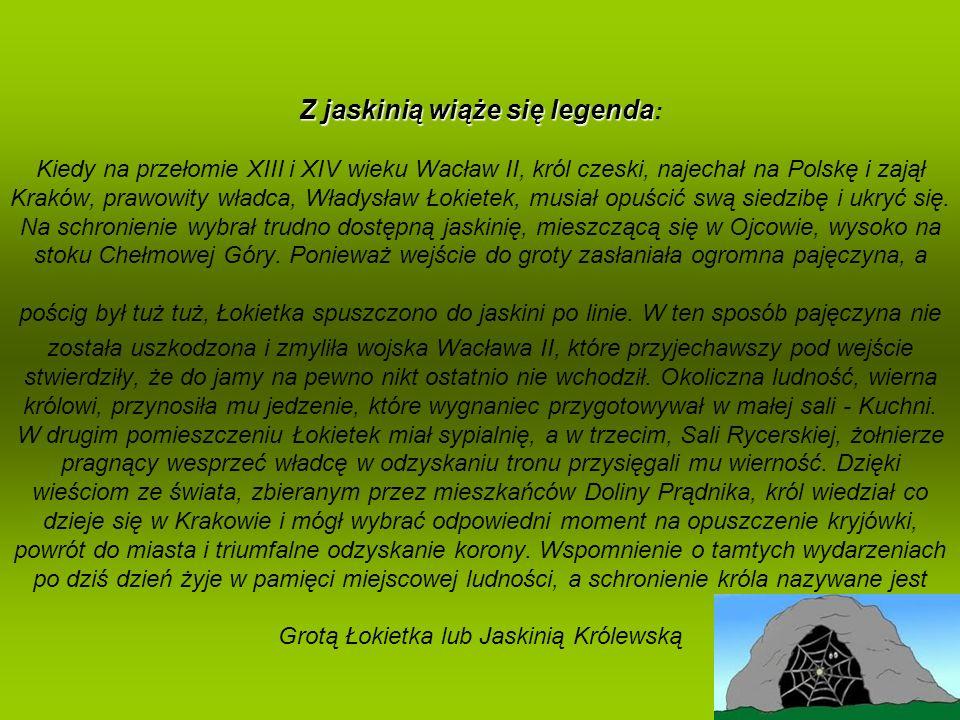 Z jaskinią wiąże się legenda: Kiedy na przełomie XIII i XIV wieku Wacław II, król czeski, najechał na Polskę i zajął Kraków, prawowity władca, Władysław Łokietek, musiał opuścić swą siedzibę i ukryć się.