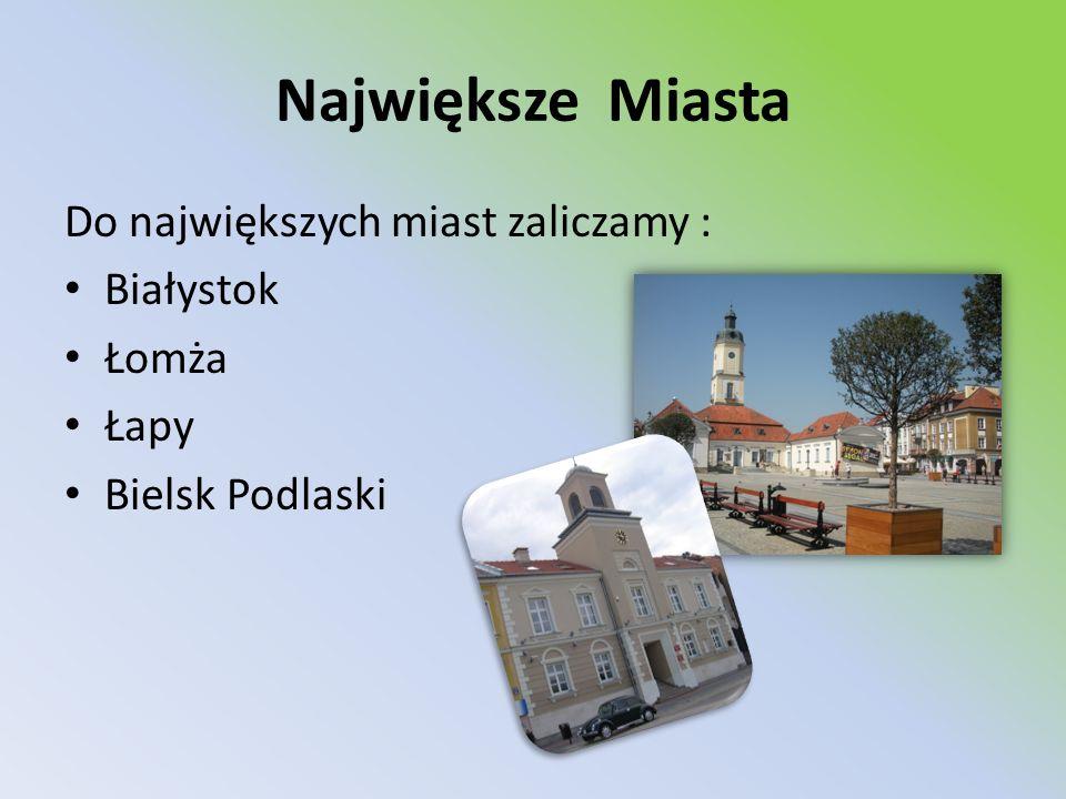 Największe Miasta Do największych miast zaliczamy : Białystok Łomża