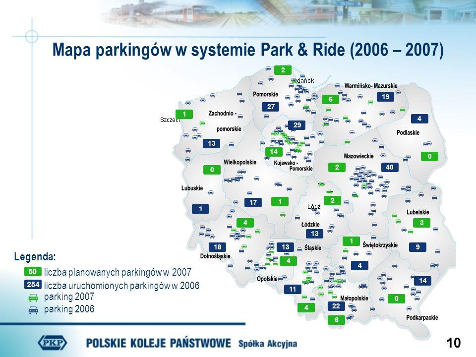 Mapa parkingów w systemie Park & Ride (2006 – 2007)