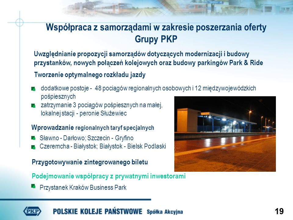 Współpraca z samorządami w zakresie poszerzania oferty Grupy PKP