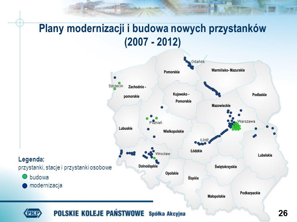 Plany modernizacji i budowa nowych przystanków (2007 - 2012)