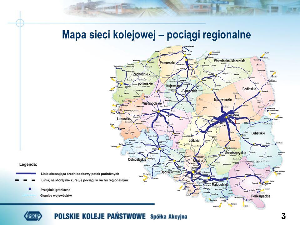Mapa sieci kolejowej – pociągi regionalne