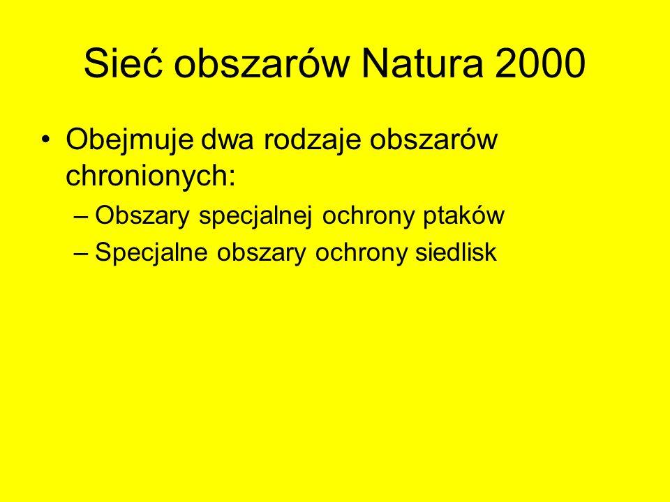 Sieć obszarów Natura 2000 Obejmuje dwa rodzaje obszarów chronionych: