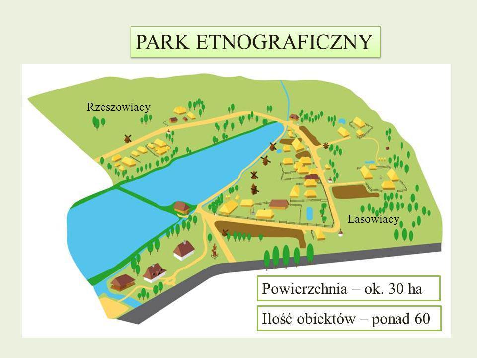 PARK ETNOGRAFICZNY Powierzchnia – ok. 30 ha Ilość obiektów – ponad 60