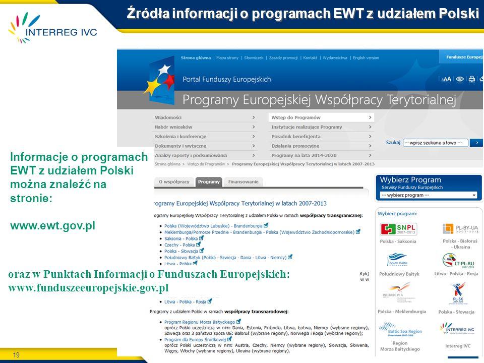 Źródła informacji o programach EWT z udziałem Polski