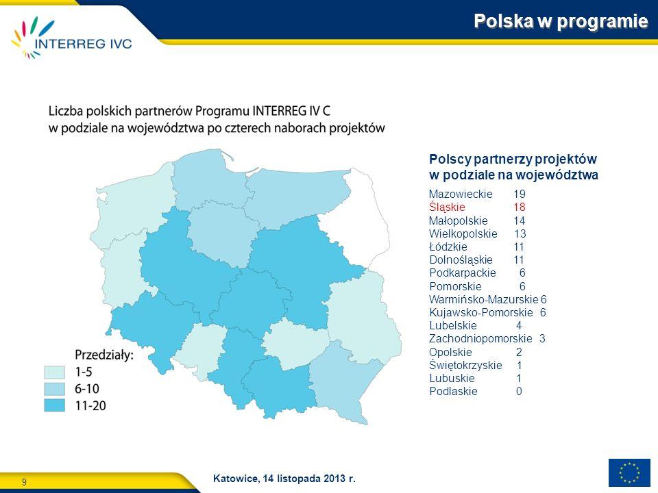 Polska w programie Polscy partnerzy projektów w podziale na województwa. Mazowieckie 19.