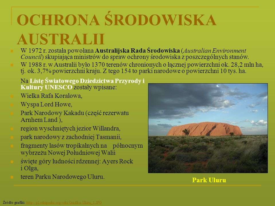OCHRONA ŚRODOWISKA AUSTRALII