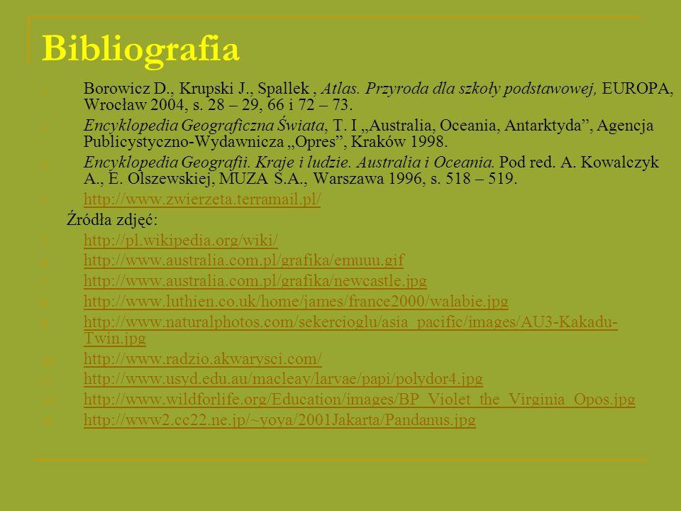 Bibliografia Borowicz D., Krupski J., Spallek , Atlas. Przyroda dla szkoły podstawowej, EUROPA, Wrocław 2004, s. 28 – 29, 66 i 72 – 73.
