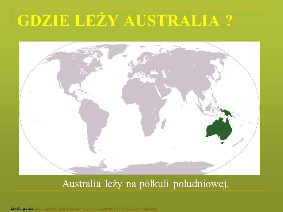 GDZIE LEŻY AUSTRALIA Australia leży na półkuli południowej.