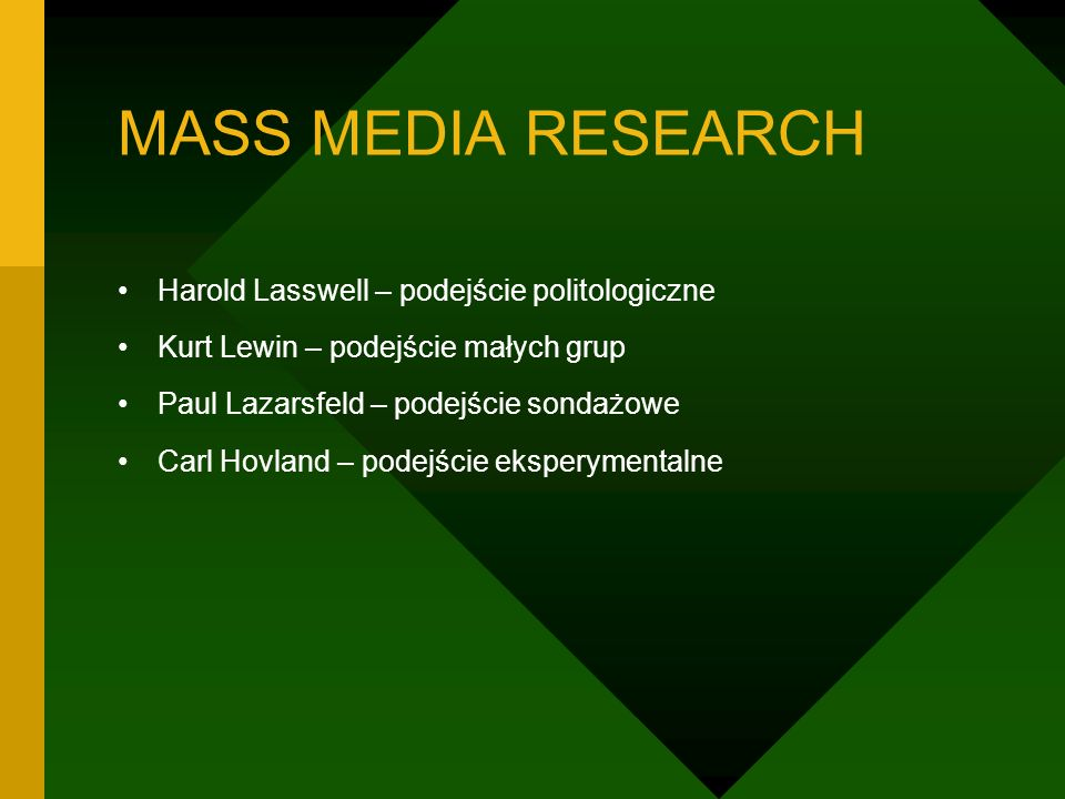 MASS MEDIA RESEARCH Harold Lasswell – podejście politologiczne
