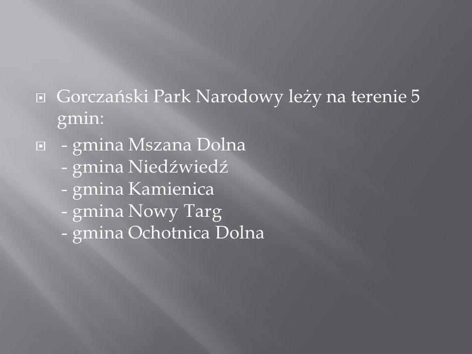 Gorczański Park Narodowy leży na terenie 5 gmin: