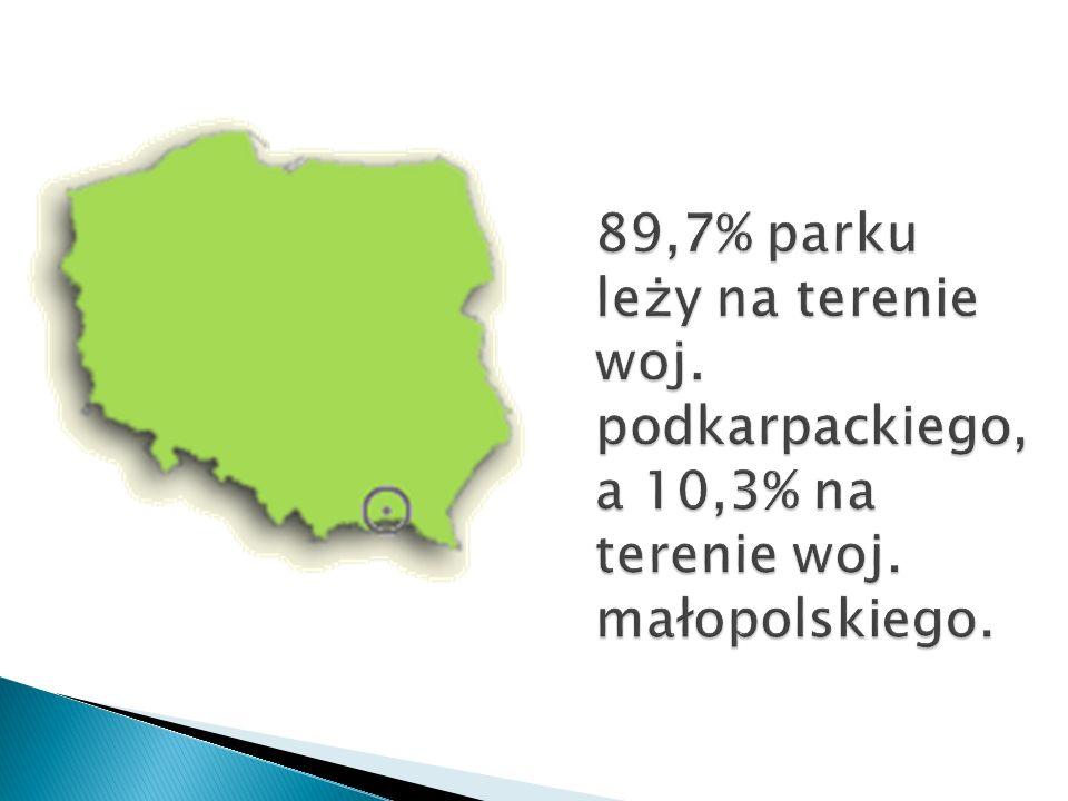 89,7% parku leży na terenie woj. podkarpackiego, a 10,3% na terenie woj. małopolskiego.