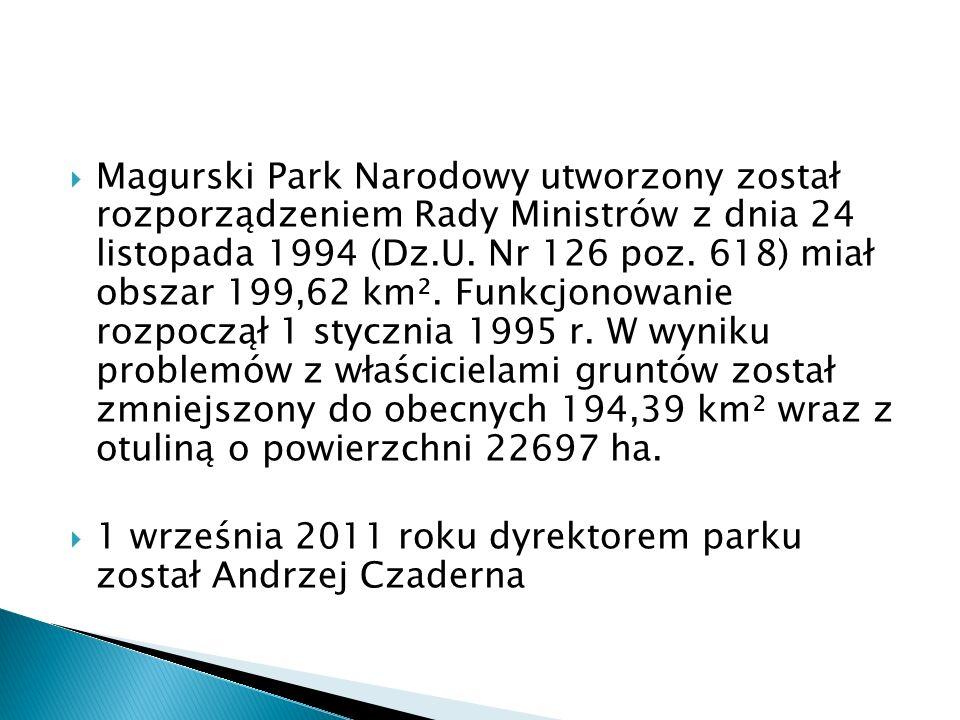Magurski Park Narodowy utworzony został rozporządzeniem Rady Ministrów z dnia 24 listopada 1994 (Dz.U. Nr 126 poz. 618) miał obszar 199,62 km². Funkcjonowanie rozpoczął 1 stycznia 1995 r. W wyniku problemów z właścicielami gruntów został zmniejszony do obecnych 194,39 km² wraz z otuliną o powierzchni 22697 ha.