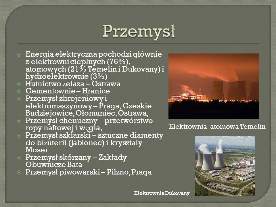 Przemysł Energia elektryczna pochodzi głównie z elektrowni cieplnych (76%), atomowych (21% Temelin i Dukovany) i hydroelektrownie (3%)