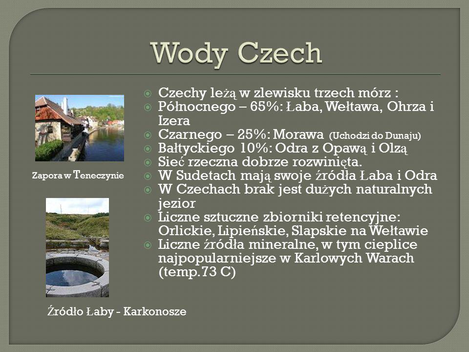 Wody Czech Czechy leżą w zlewisku trzech mórz :