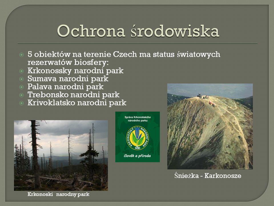 Ochrona środowiska 5 obiektów na terenie Czech ma status światowych rezerwatów biosfery: Krkonossky narodni park.