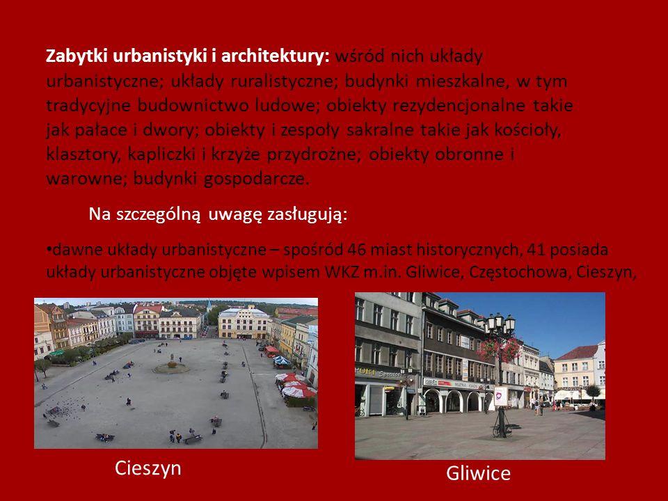 Zabytki urbanistyki i architektury: wśród nich układy urbanistyczne; układy ruralistyczne; budynki mieszkalne, w tym tradycyjne budownictwo ludowe; obiekty rezydencjonalne takie jak pałace i dwory; obiekty i zespoły sakralne takie jak kościoły, klasztory, kapliczki i krzyże przydrożne; obiekty obronne i warowne; budynki gospodarcze.