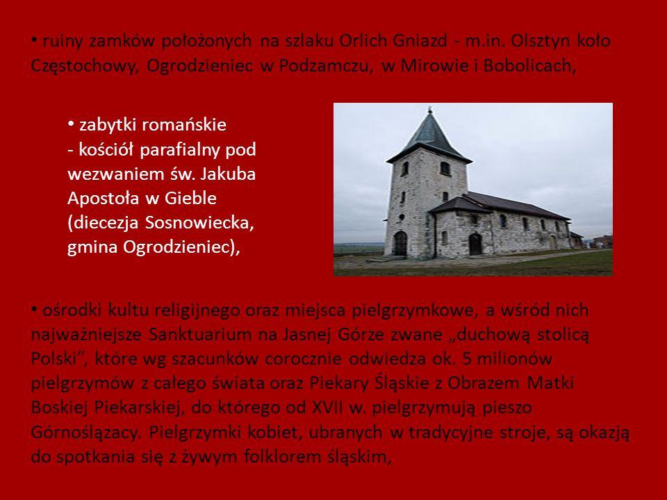 ruiny zamków położonych na szlaku Orlich Gniazd - m. in