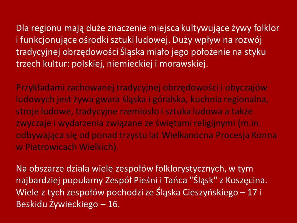 Dla regionu mają duże znaczenie miejsca kultywujące żywy folklor i funkcjonujące ośrodki sztuki ludowej. Duży wpływ na rozwój tradycyjnej obrzędowości Śląska miało jego położenie na styku trzech kultur: polskiej, niemieckiej i morawskiej.