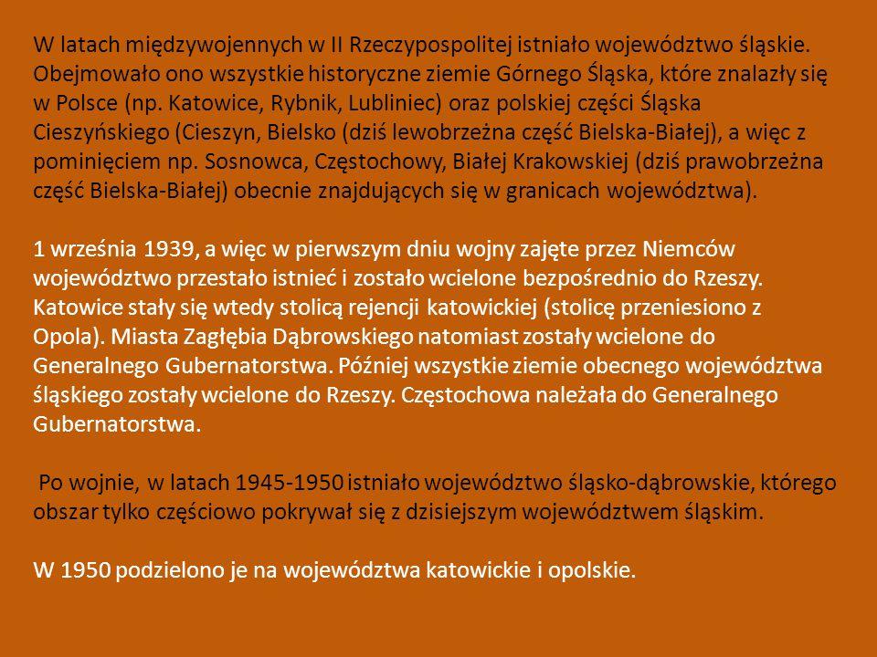 W latach międzywojennych w II Rzeczypospolitej istniało województwo śląskie. Obejmowało ono wszystkie historyczne ziemie Górnego Śląska, które znalazły się w Polsce (np. Katowice, Rybnik, Lubliniec) oraz polskiej części Śląska Cieszyńskiego (Cieszyn, Bielsko (dziś lewobrzeżna część Bielska-Białej), a więc z pominięciem np. Sosnowca, Częstochowy, Białej Krakowskiej (dziś prawobrzeżna część Bielska-Białej) obecnie znajdujących się w granicach województwa).