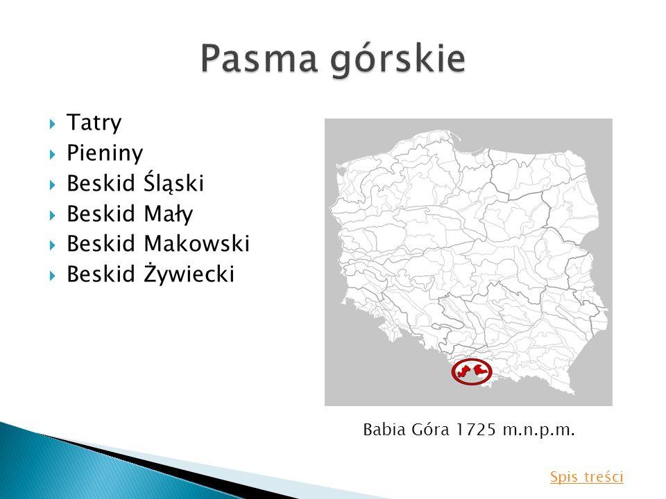 Pasma górskie Tatry Pieniny Beskid Śląski Beskid Mały Beskid Makowski