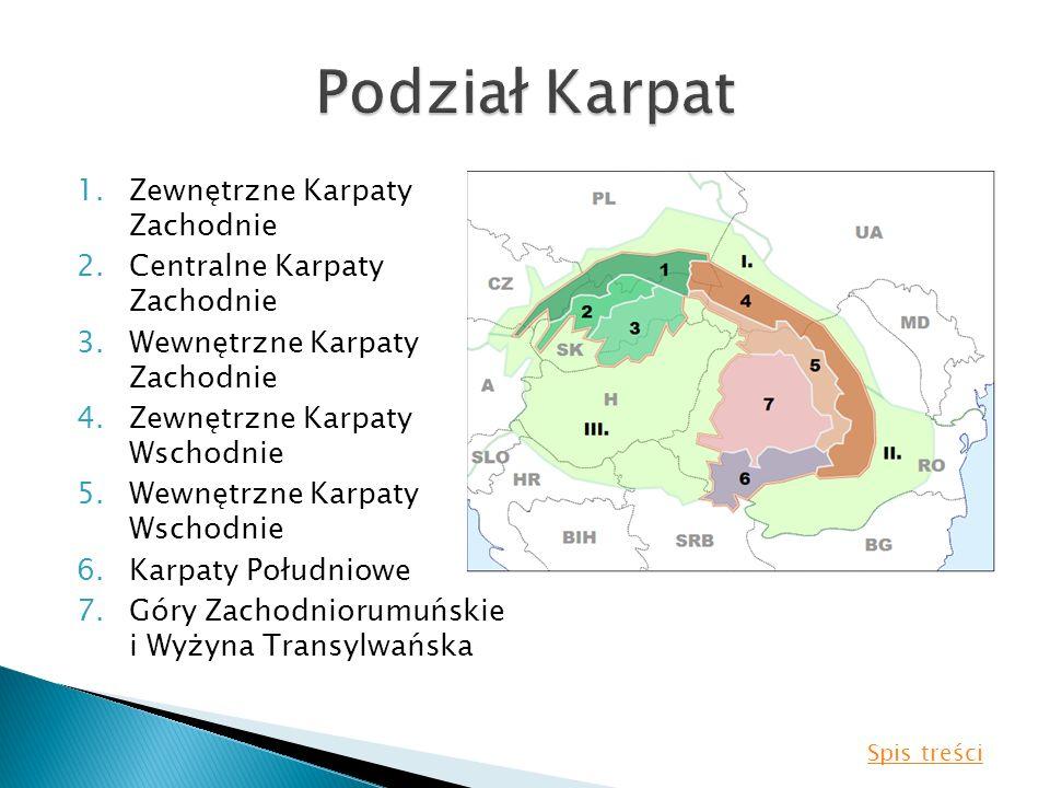 Podział Karpat Zewnętrzne Karpaty Zachodnie